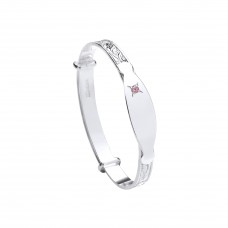 Silver Childs Patterned Pink Cubic Zirconia Expanding Bangle Wit