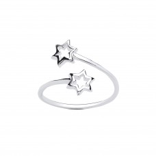 Silver Crossover Star Ring