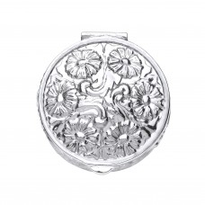 Silver Embossed Round Pill Box