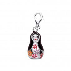 Silver Enamelled Babushka Doll Charm Pendant