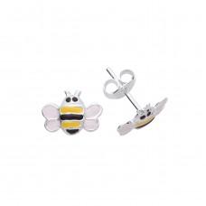 Silver Enamelled Bumble Bee Stud Earrings