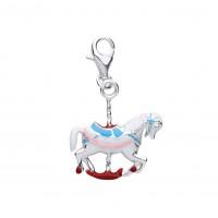 Silver Enamelled Carousel Horse Charm Pendant