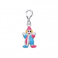 Silver Enamelled Clown Charm Pendant
