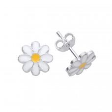 Silver Enamelled Flower Stud Earrings