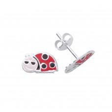 Silver Enamelled Smiley Ladybird Stud Earrings