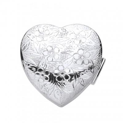 Silver Engraved Heart Pill Box