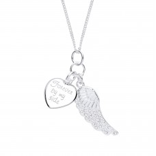"Silver ""Forever By My Side"" Heart & Crystal Wing Pendant and 16"" Adjustable Curb Chain"