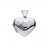 Silver Half Engraved Heart Locket