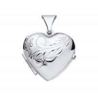Silver Half Engraved Large Heart Locket