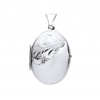 Silver Half Engraved Large Oval Locket