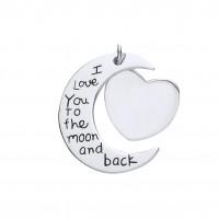 Silver Moon & Heart Message Pendant