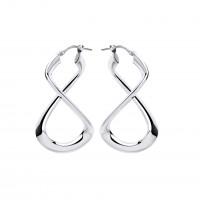 Silver Infinity Style Creole Earrings