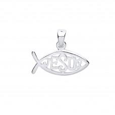 "Silver ""Jesus"" Fish Pendant"
