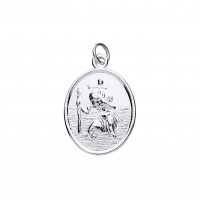 Silver Large Heavyweight Oval St. Christopher Pendant