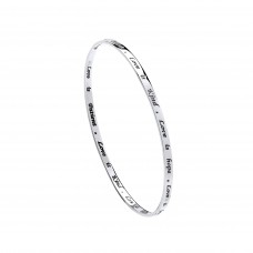"Silver ""LOVE"" Message Bangle"