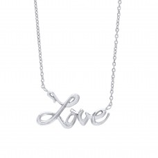 "Silver ""LOVE"" Pendant and 17"" Trace Chain"