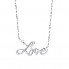 "Silver ""LOVE"" Pendant and 17"" Trace Chain"