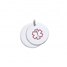 Silver Medical Alert Double Disc Pendant