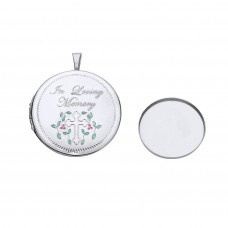 Silver Memorial Enamelled Round Locket With Casket