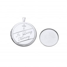 Silver Memorial Round Locket With Casket