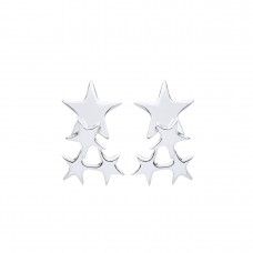 Silver Multi Star Drop Earrings