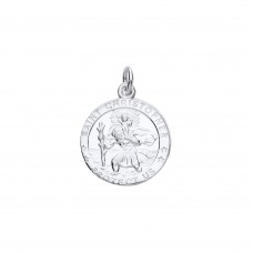 "Silver ""Protect Us"" 16mm St. Christopher Pendant"