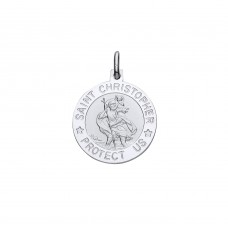 "Silver ""Protect Us"" 18mm St. Christopher Pendant"