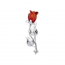 Silver Amber Rose Brooch