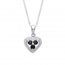 """Silver Sapphire and Diamond Heart Pendant and 16"""" Adjustable Curb Chain"""