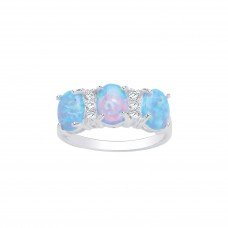 Silver Blue Synthetic Opal and White Cubic Zirconia Ring 2.45gms