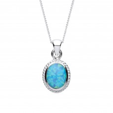 "Silver Blue Synthetic Opal Pendant and 16"" Adjustable Curb Chain 2.40gms"