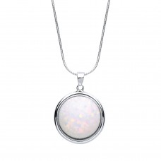 """Silver Synthetic Opal Pendant and 16"""" Snake Chain"""