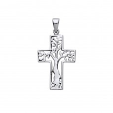Silver Tree Of Life Cross Pendant