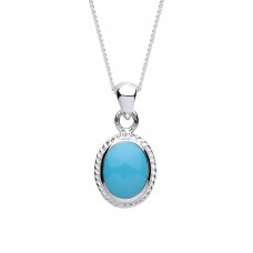 """Silver Turquoise Pendant and 16"""" Adjustable Curb Chain"""