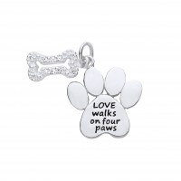 Silver White Cubic Zirconia Bone and Pawprint Message Pendant