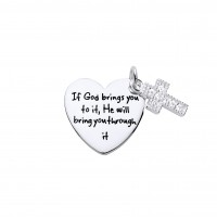Silver White Cubic Zirconia Cross & Heart Message Pendant