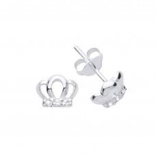 Silver White Cubic Zirconia Crown Stud Earrings
