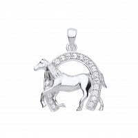 Silver White Cubic Zirconia Horsehoe and Horse Pendant