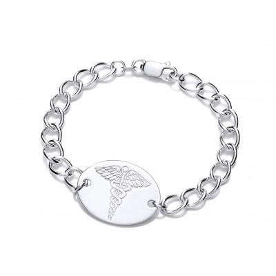 Silver Ladies Curb Medical Alert Bracelet