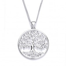"Silver Tree Of Life Pendant And 16"" Curb Chain"