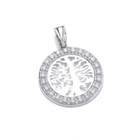 Silver Tree of Life White Cubic Zirconia Pendant