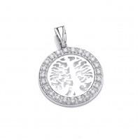 Silver Tree of Life White Cubic Zirconia Pendant