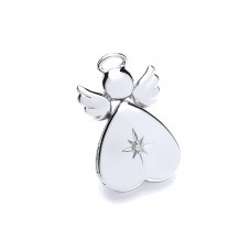 Silver Diamond Set Angel Locket