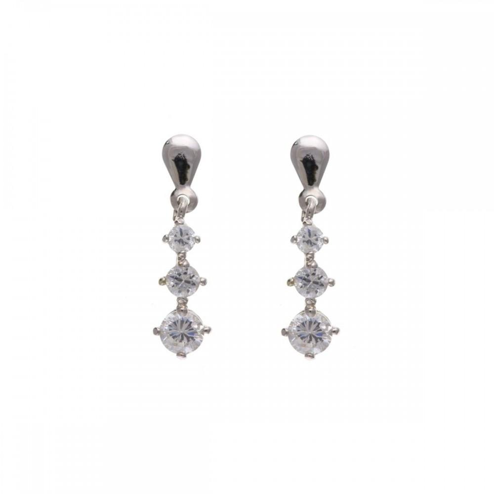 9ct White Gold Three Stone Cubic Zirconia Drop Earrings